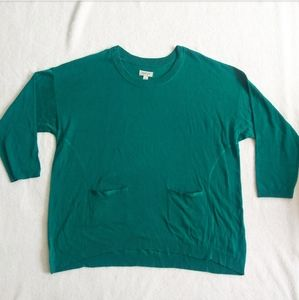 Avenue Plus Size 22/24 Teal Top w/ Front Pockets